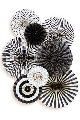 Black & Ivory Party Decorations, MME Party Fans Collection, Photo Backdrops, Party Rosette Pinwheels – Halloween