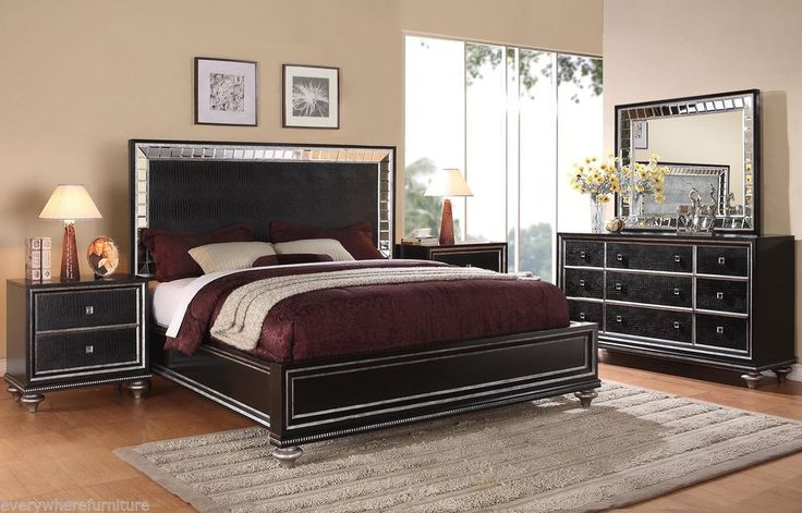 Glam Black Mirrored King Size Bed Bedroom Furniture Hollywood Regency Leather