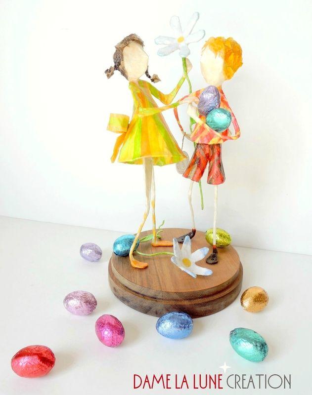 figurines_sculpture_ paquerettes paques_dame la lune