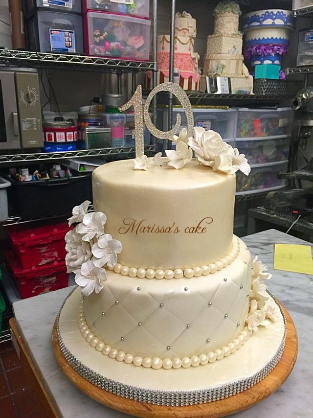 Elegant 19th birthday cake. Visit us Facebook.com/marissa'scake or www.marissascake.com
