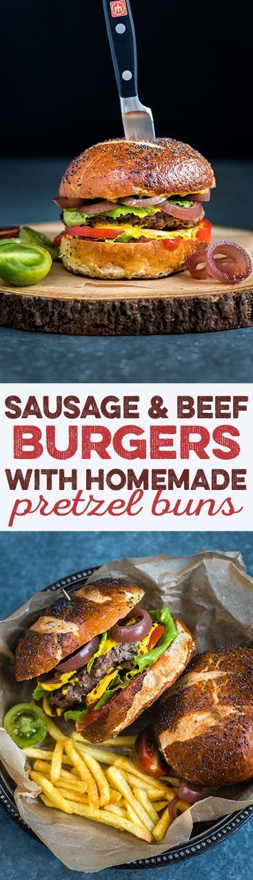 These delectable burgers combine minced beef and sausage meat for a truly addictive taste. The pretzel buns are super easy to make in the bread maker.