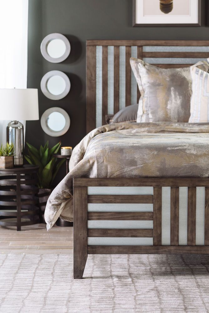 62 Modern Lattice Framed Bed In Driftwood Modern Style Bed