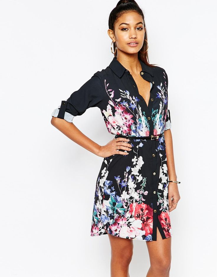 Lipsy+Belted+Shirt+Dress+In+Dark+Floral