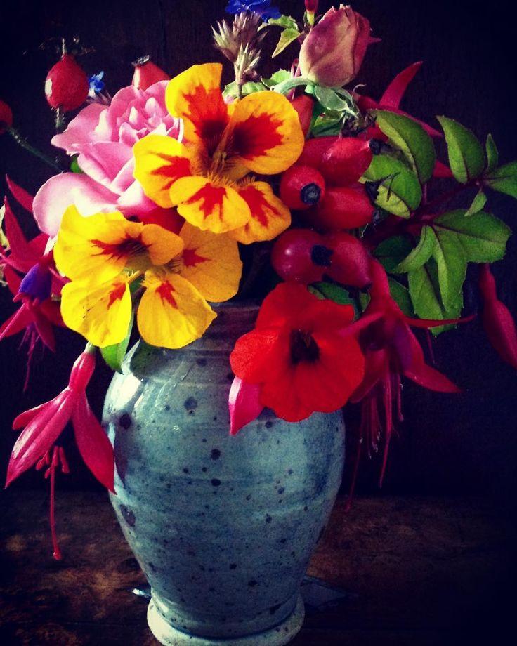 October Posy. #october#posy#nasturtiums #roses#fuschia#rosehips #frommygarden#freshford #sharpstonefreshford