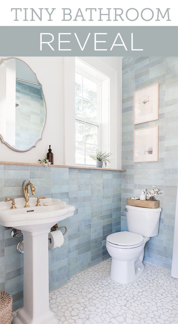 Blue Lagoon Bathroom Reveal In 2020 Small Bathroom Decor Small Bathroom Tile Bathroom