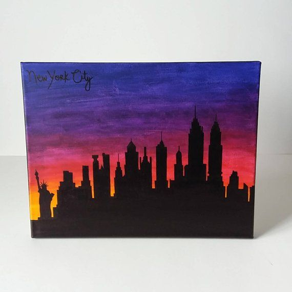 New York City Nyc Skyline Sunset Painting 11x14 In 2019 Products