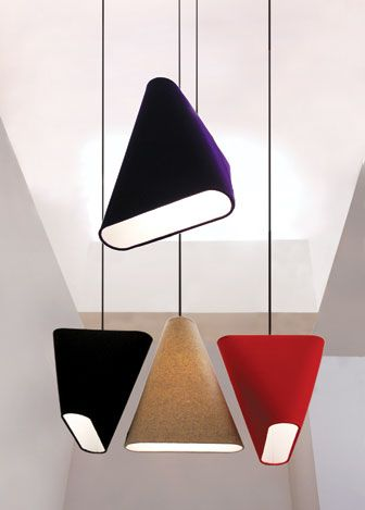 Innermost - MnM  A tribute to the triangle, Steve Jones's MnM pendant light wraps a 100 percent wool cover, available in four hues, around an acrylic felt lining. The colorful piece is about 16 inches wide and high and 4 inches deep. 44-8452-6000-51; innermost.net.