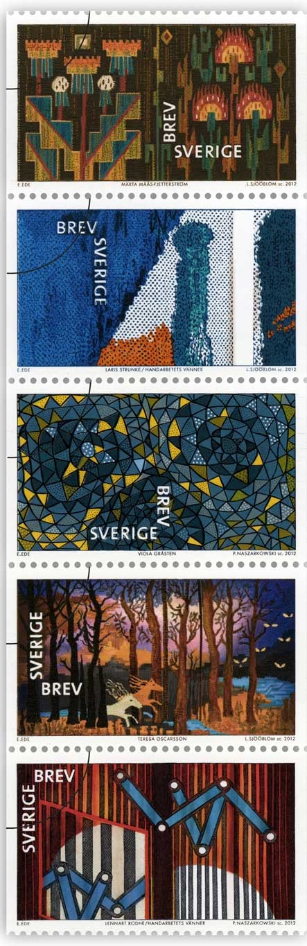 "Stamps from ""Textilkonst"" with Swedish textile works from 1928 to 2006 by Märta Måås-Fjetterström, Laris Strunke, Viola Gråsten (pattern Oomph), Teresa Oscarsson and Lennart Rodhe."