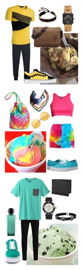 """""""Ice cream"""" by sschan ❤ liked on Polyvore featuring Y-3, Vans, Bell & Ross, men's fashion, menswear, Pilot, Rebecca Minkoff, Jack & Jones, prAna and Breitling"""