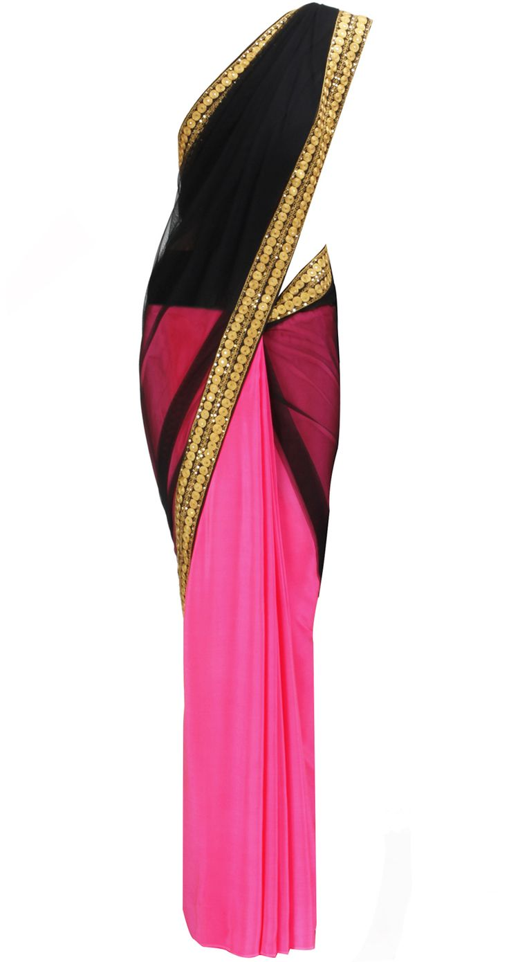 Pink and Black Saree with Gold border by MASABA. Shop at https://www.perniaspopupshop.com/whats-new/masaba-5205