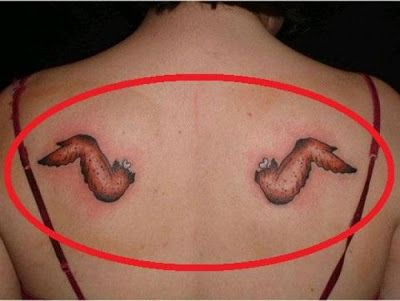 This actually made me laugh. Very clever wing tattoo.