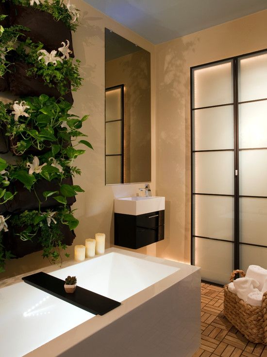 Attractive Contemporary Bathroom Vanity Ideas For Small Bathrooms: Mesmerizing Black And White Small Contemporary Bathroom Vanity Ideas For Small Bathrooms With Mirror Without Frame Unique Tile Floor Design White Towels In Rattan Basket And White Modern Square Bathtub ~ trastus.com Bathroom Design Inspiration