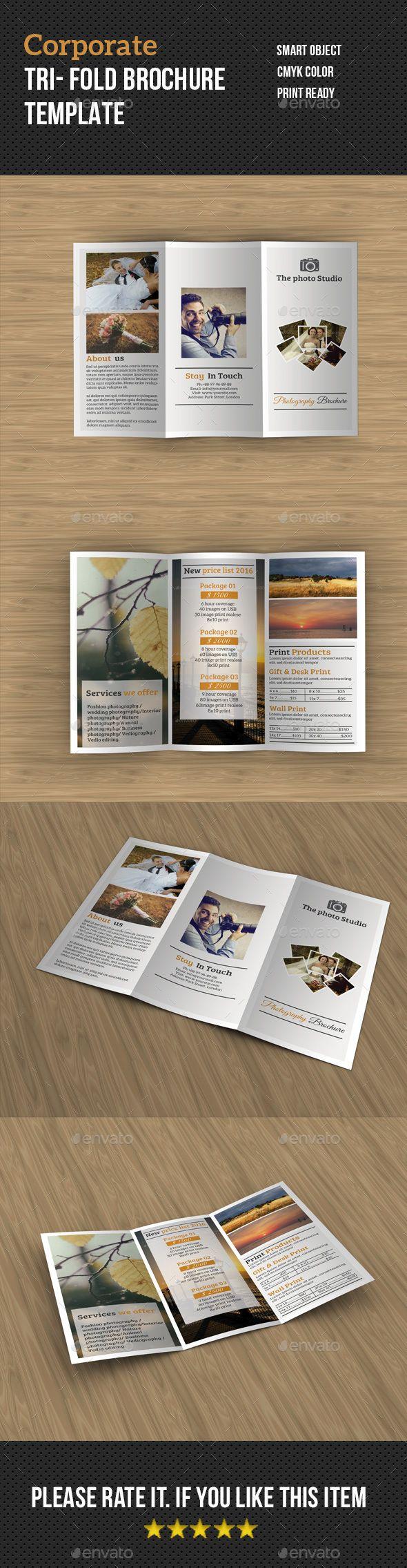 Photography Tri- fold Brochure  — PSD Template #corporate #brochure template…