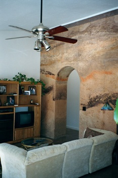 "Living Room area with the"" Cast Earth"" wall."