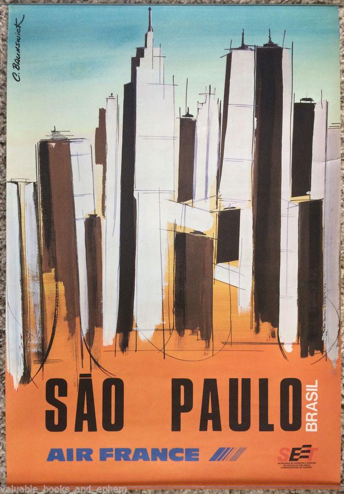 Original Travel Poster Brazil Air France Sao Paulo Brasil c1970 Affiche Ancienne #Vintage