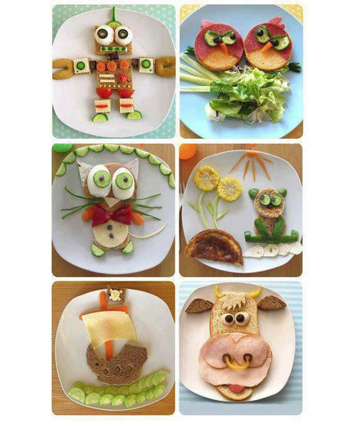 Decorar platos de comida para los niños