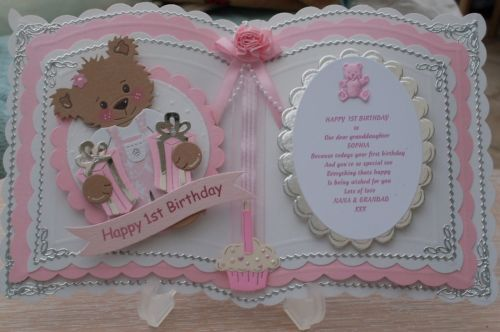 Bookatrix personalised girls 1st birthday card +box+free plastic stand | eBay