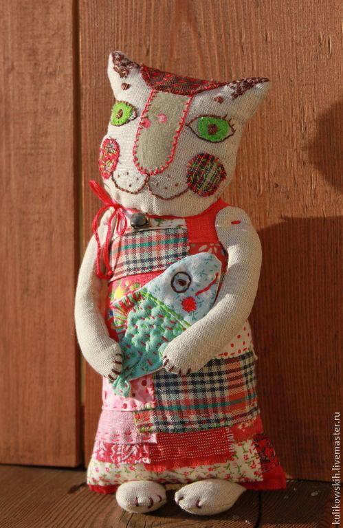 Купить Кукла текстильная Муся и Рыб - разноцветный, кошка, кошечка, коты и кошки, рыба, колье
