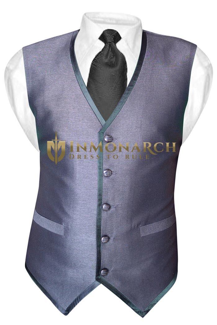 Mens Gray Tuxedo Vest Casual 5 Button