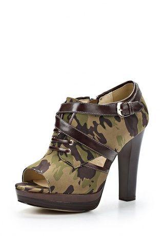 Оригинальные ботильоны от Thanks4Life. Обувь выполнена из искусственной замши и кожи. Детали: мягкая стелька, высокий каблук, устойчивая платформа, шнуровка, ремешок, камуфляжный принт. http://j.mp/WNktuP