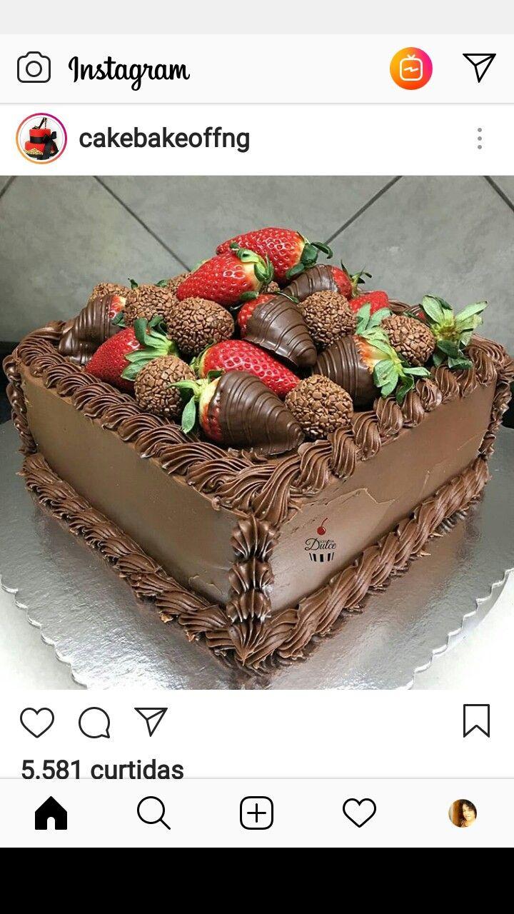 Chocolate Strawberries Cake Decoracao De Bolo Bolo De Chocolate