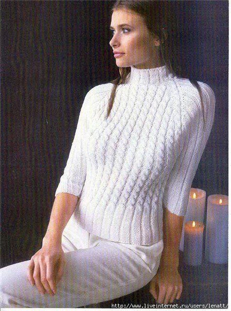 Спицы.Белый свитер с рукавами реглан. Обсуждение на Блоги на Труде