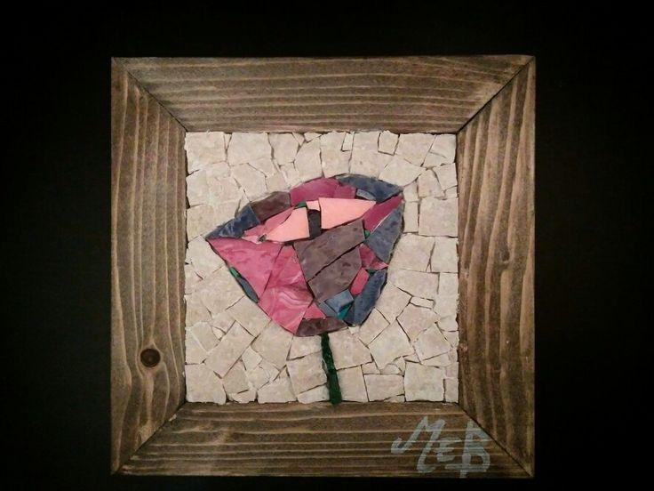 #mosaic #handmade #flower #wood
