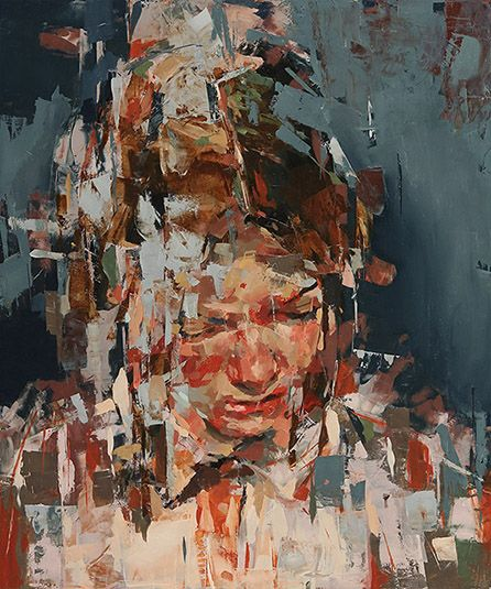"""Kai Samuels-Davis - """"The Collapse"""", painting, oil on panel, 36 x 30 inches, 2014."""