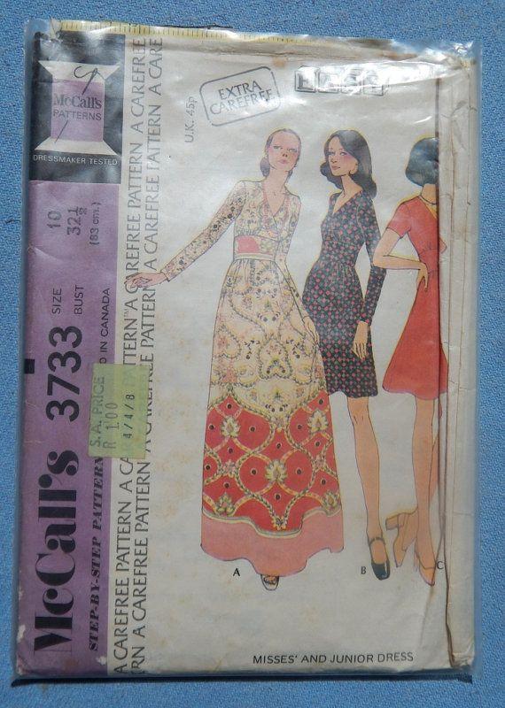 1970s McCall's 3733 dress pattern