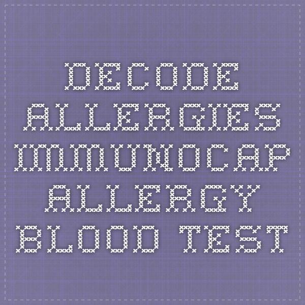 Decode Allergies - ImmunoCAP Allergy Blood Test