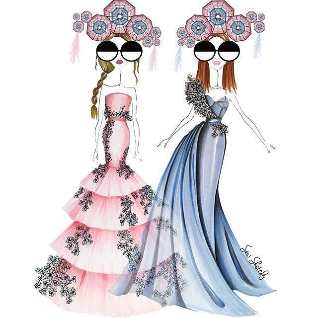 Fashion illustrator @sew_sketchy shares her stylish take on Pantone #ColoroftheYear 2016 #RoseQuartz & #Serenity.