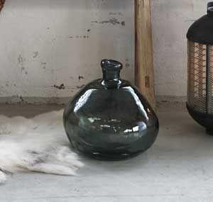 Bonbonne en verre irrégulier recyclé bleu pétrol Hübsch