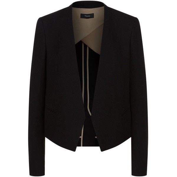 Theory Elfinis Cropped Blazer ($585) ❤ liked on Polyvore featuring outerwear, jackets, blazers, cropped jacket, light weight jacket, cropped blazer, blazer jacket and crepe jacket