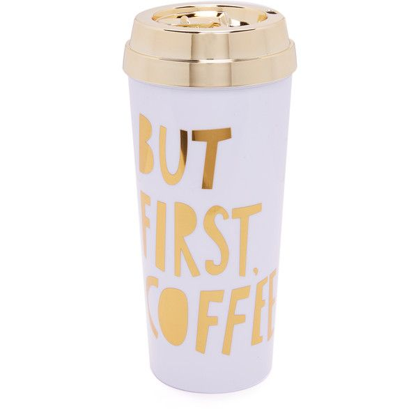 ban.do But First Coffee Hot Stuff Thermal Mug ($18) ❤ liked on Polyvore featuring home, kitchen & dining, drinkware and gold