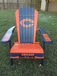 Chicago bears Adirondack Chair | Details about HAND PAINTED CHICAGO BEARS FOLDING ADIRONDACK CHAIR ...
