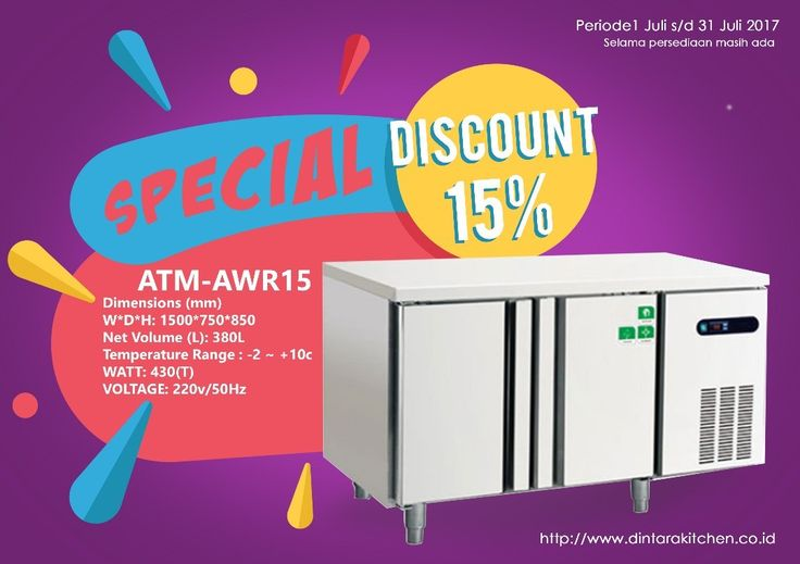 Dintara Kitchen Promo Continues till 30 July :)  Dapatkan Diskon 15% guys untuk setiap pembelian unit ATM-AWR15  Spesifikasi  DIMENSIONS (mm) : 1500750850  VOLUME (L) : 380L  TEMPERATURE RANGE : -2  10 Celcius  WATT : 430 (T)  VOLTAGE : 220v/50Hz  Barang Bisa dilihat di Show Room Kami di Jl. Sunset Road No. 168 Kuta - Bali  More info:   Instagram: @dintara.kitchenn  Telepon: 0361-710948  Email:  dintara.kitchen@gmail.com  atm_kitchen@yahoo.com  Our Store:  Jln. Raya Sunset Road  No.168 Kuta…