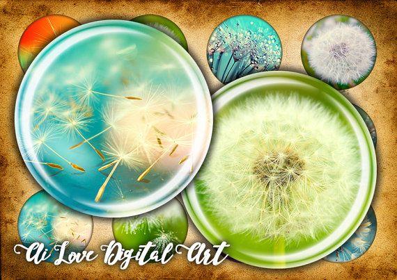 Digital collage sheet Dandelion 1.5 inch 1 inch circle #dendelion #bottlecapimages #etsyshop