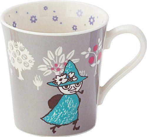 Moomin Valley Mug Cup Yamaka retro flower GRAY