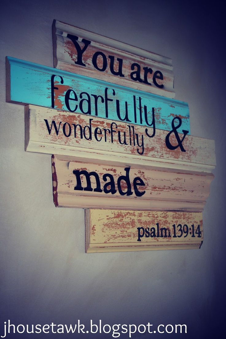 DIY sign with leftover trim: Psalms 139 14, Wall Art, Quote, Kids Room, Girls Room, Baby Room, Diy Signs, Bible Verse, Babies Rooms