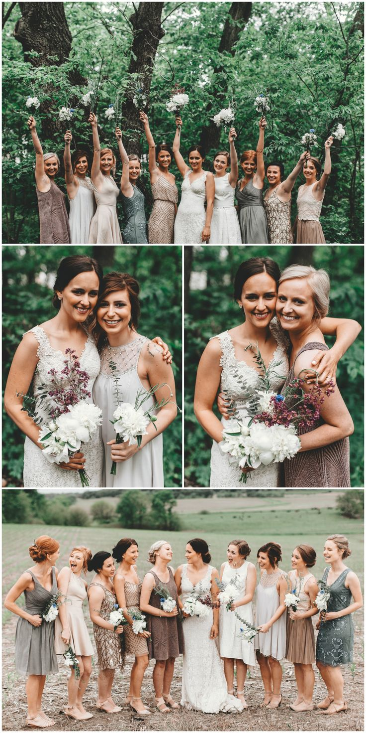 Bridal party in a variety of short dresses, mix & match bridesmaids, shades of grey and blush // Surveyor Creative
