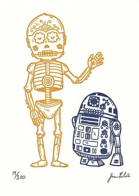 Dia de los Robots starring c3po and r2d2. @gabrielle Wiegand another way to get him into the basement?