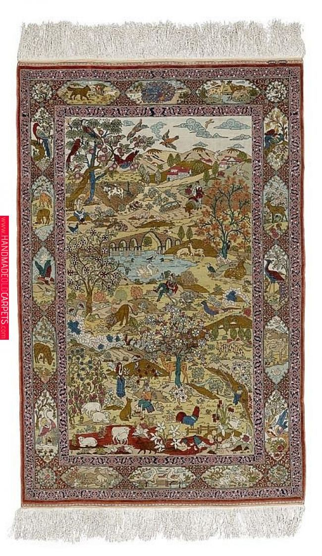Hereke Silk Rug Central Field With A