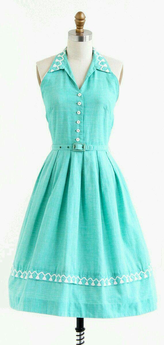 Mint green button front dress.