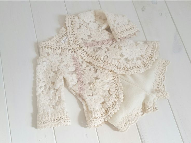 The Wynter Set is made using beautiful soft cozy lace and features so many lovely details! Such a versatile piece that can be carried from the holiday season into the winter months after.Shorts are a soft felted knit and are trimmed in matching lace.