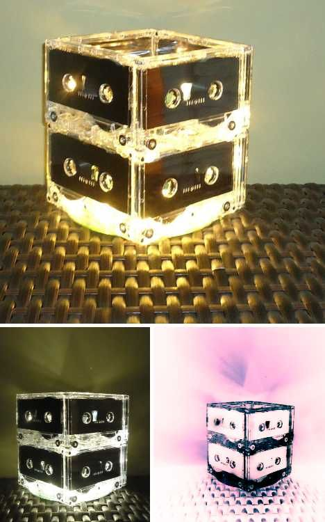 Tape cassette lamp - retro cool!!Pens Pencil Holders, Cosy Homey, Mixtape Design, Cassette Tape, Classy Design, Retro Pens Pencil, Recycle Repurposing Crafts, Mixtape Mashup, Cassette Lamps