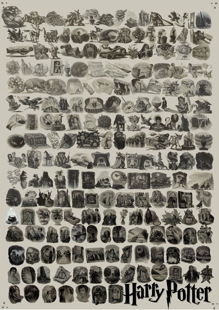 """Every """"Harry Potter"""" Chapter Illustration. I want this as a poster please."""