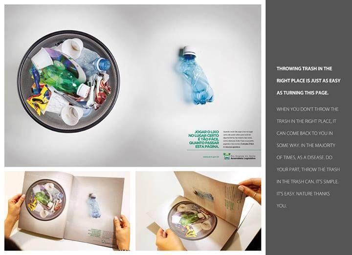 """""""Botar la basura en el lugar correcto es tan fácil como darle la vuelta a esta página"""" Un gran mensaje por parte de la Asamblea Legislativa de Brasil.  Se #responsable y #recicla tu basura http://ow.ly/nhZJj"""