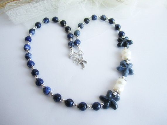 Sodalite beaded necklace starfish necklace by MalinaCapricciosa