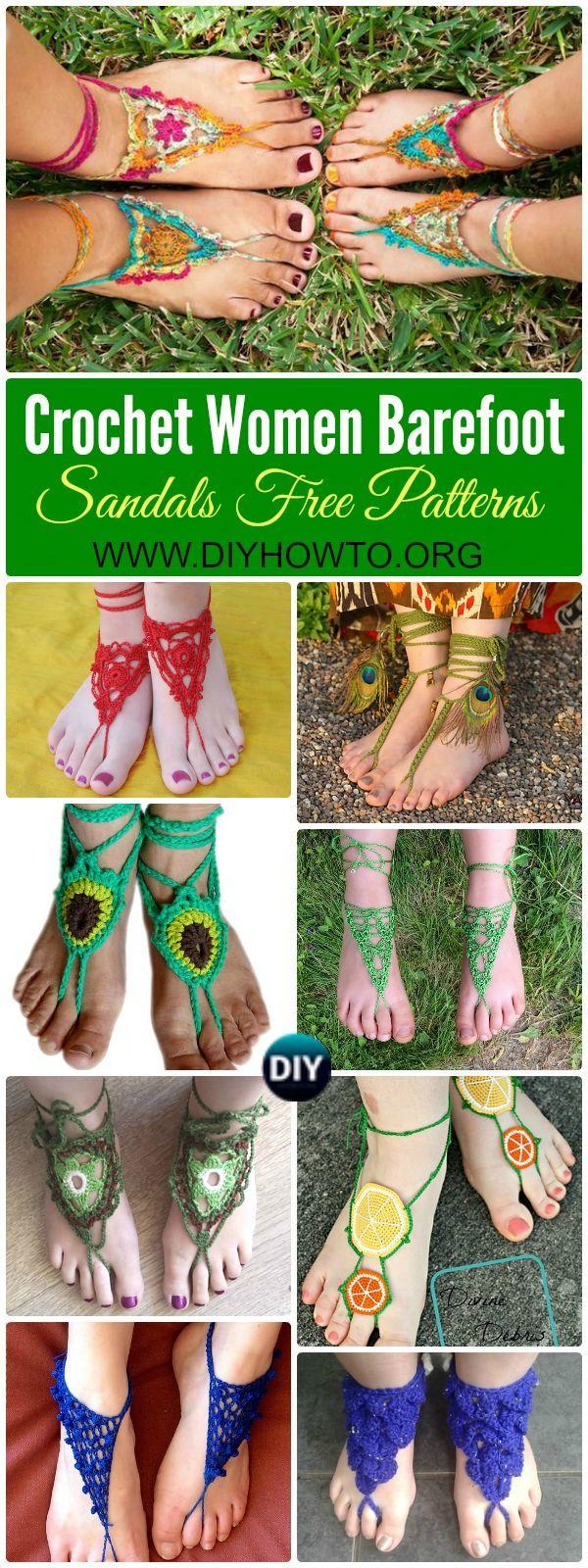 Crochet Women Barefoot Sandal Anklets Free Patterns: Crochet Adult Barefoot Sandals, Beach Sandals, Bridal Sandals via @diyhowto