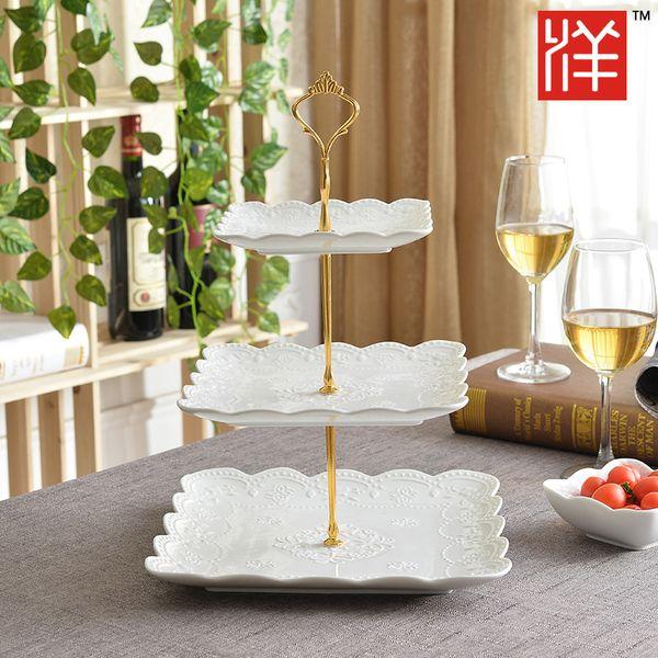 Европейская керамические ваза с фруктами творческого современной гостиной стеклянного тортом кондитерского лоток для хранения полки корзины три